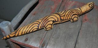 Old Cent Aust Aboriginal Carved Goanna Burnt In Designs Pitjantjatjara photo