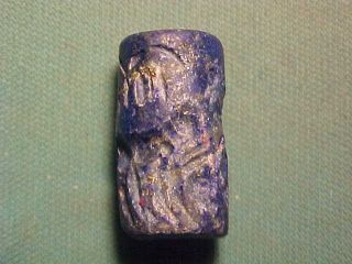 Near Eastern Lapis Lazuli Seal Amulet Circa 400 - 600 Ad. photo
