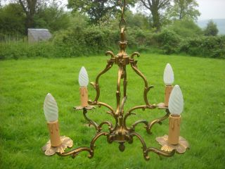 Bronze Vintage French Chandelier 4 Arm Light Fittings Bird Cage Pendant Light photo