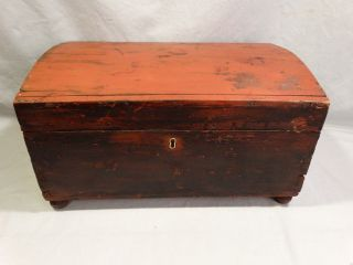 19thc Antique Primitive Painted Wood Old Civil War Era Trunk Old Dome Top Chest photo