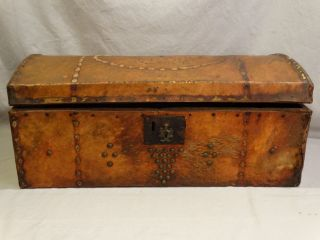Antique 19thc Primitive Brass Tack & Animal Hide Dome Top Trunk Marriage Chest photo