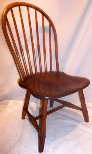 18th.  C Child ' S Windsor Bow Back Chair Signed
