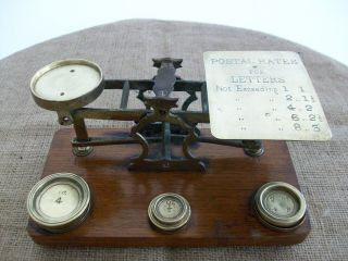 Antique Brass Postal Scale With 4 Brass Weights photo