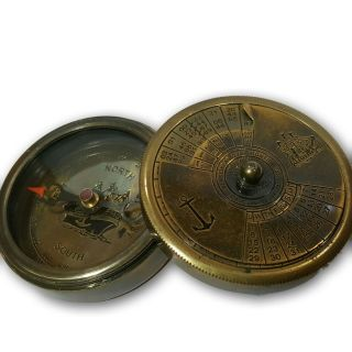 Antique Solid Brass 3in1 World Time,  100 Years Calendar,  Compass R2 Sc 041 photo