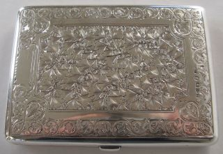 Stunning Antique Sterling Silver Victorian Card Case Purse Chester 1879 photo