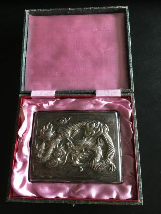 19th Century Chinese Sterling Silver High Relief Carved Dragon Card Case 纯银盒 photo