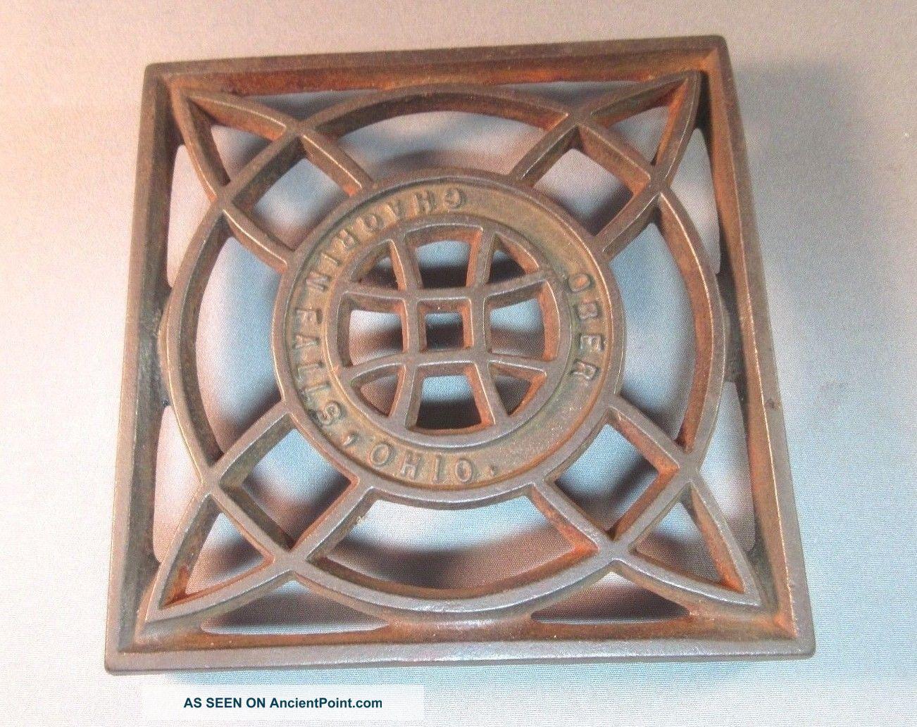Antique Metal Decorative Square Cut - Out Trivet Ober - Chargrin Falls Ohio Trivets photo