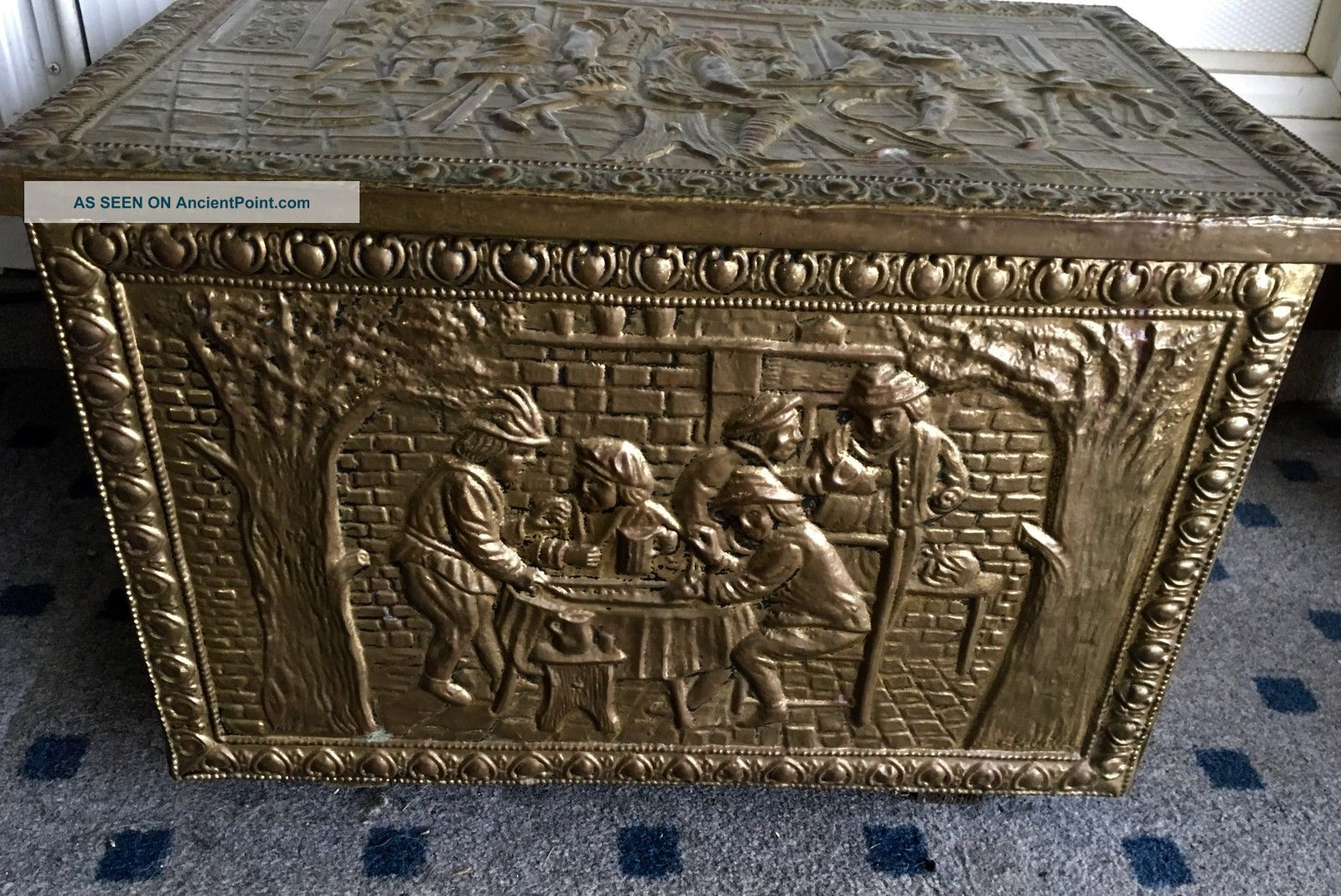 Vintage Fireplace Brass Colonial Trunk Early American Coal Box Wood Kindling Art Hearth Ware photo