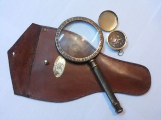 Antique Vintage Magnifying Glass With Leather Cover Engraved With Pocket Compass photo