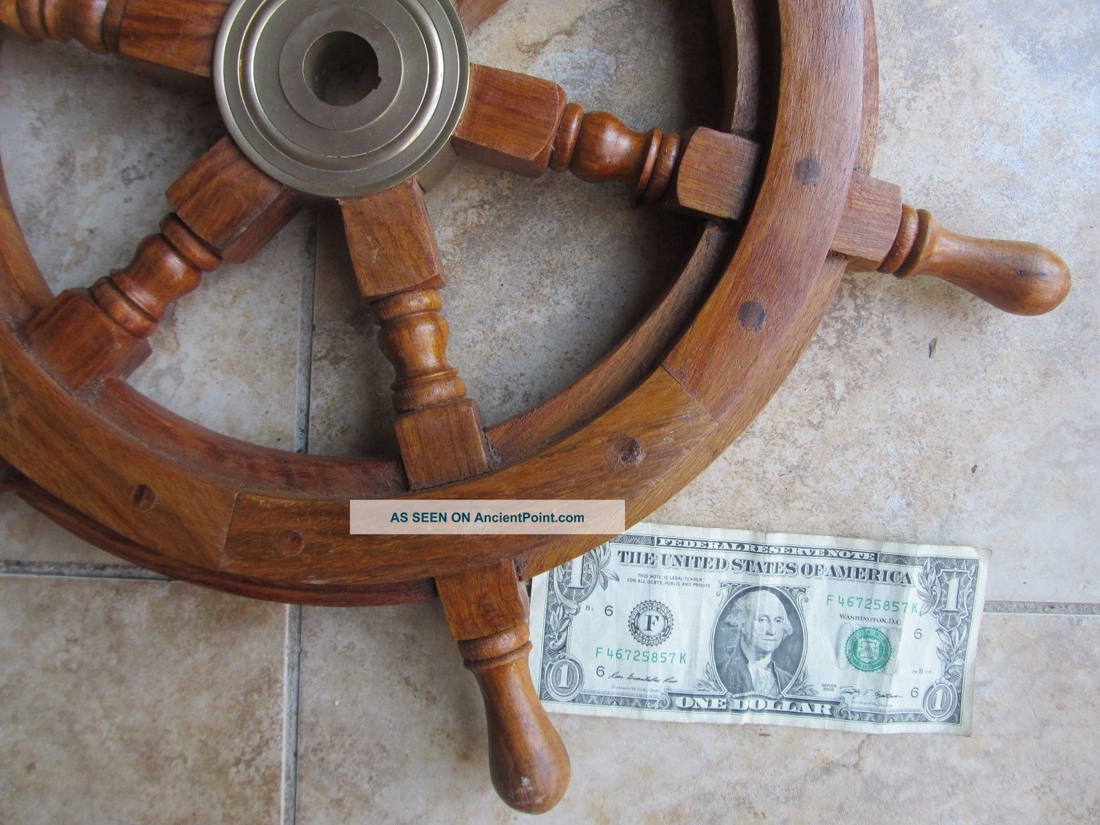 Decorative Vintage Wooden Ship ' S Wheel,  Maritime,  Nautical,  Boat,  Brass Hub Wheels photo