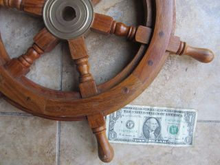 Decorative Vintage Wooden Ship ' S Wheel,  Maritime,  Nautical,  Boat,  Brass Hub photo