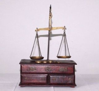 1900s Antique Goldsmith Jewelry Weight Balance Brass Scale With Wooden Box 508 photo