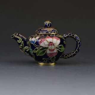 Chinese Cloisonne Hand - Painted Flower Teapot G391 photo