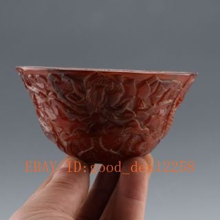 Chinese Old Antique Ox - Horn Hand - Carved Lotus & Fish Bowl photo