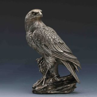 Tibeten Silver Handwork Carved Eagle Statue G705 photo