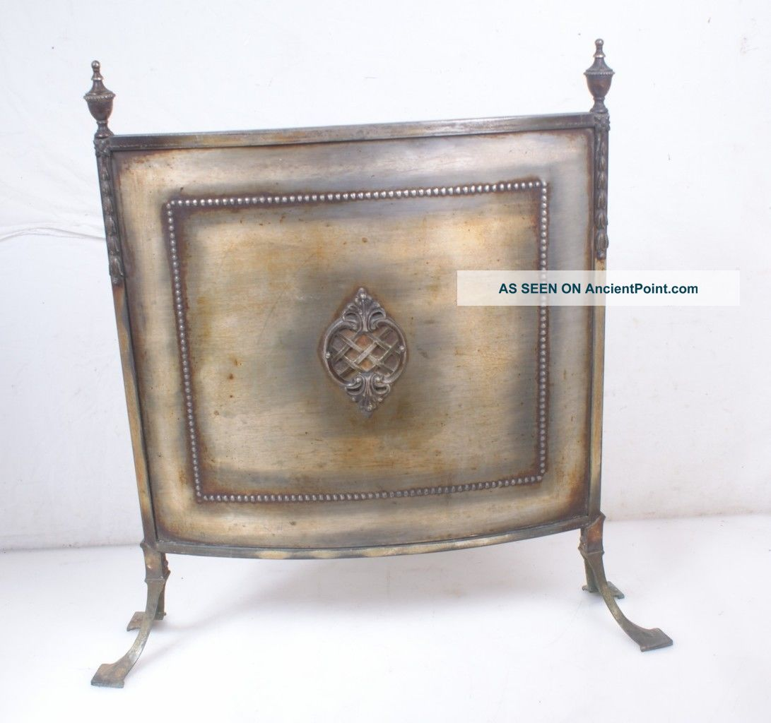 Recent British Import Antique Vintage Fireplace Screen Brass Firescreen English Hearth Ware photo