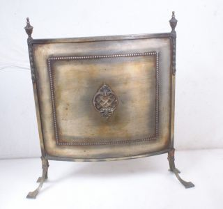 Recent British Import Antique Vintage Fireplace Screen Brass Firescreen English photo