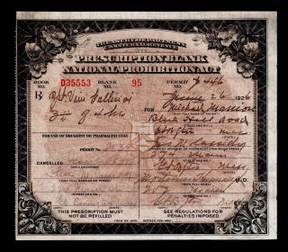 Antique 1926 Prohibition Liquor Rx Prescription Pharmacy Doctor Apothecary Bar photo