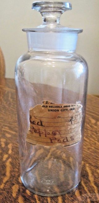 Antique/vintage Apothecary/medicine Jar Wide Mouth Ground Glass Stopper Old photo