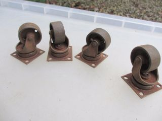 Vintage Metal Furniture Castors Trolley Wheels Iron Factory Antique Old Deco photo