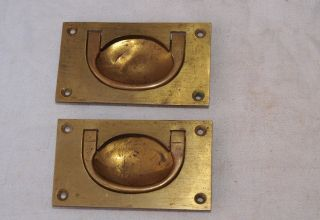 2 Large Reclaimed Brass Campaign Door Box Trunk Inset Recessed Pull Handles photo
