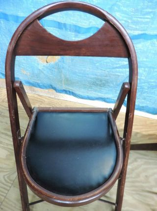 Vtg Redington Industrial Steam Punk Funeral Parlor Wood Folding Chair photo