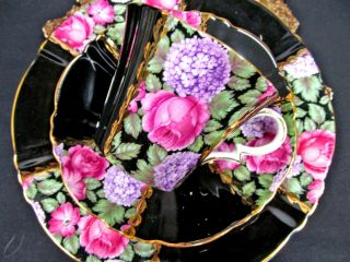 Royal Standard Tea Cup And Saucer Trio Rose Lilac Black Painted Teacup photo