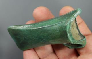 Outstanding Socketed Axe Head,  Smooth Malachite Patina,  Late Bronze Age,  900 Bc photo