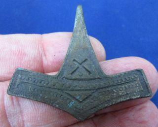Stunning - Viking Bronze Amulet Thor ' S Hammer 9 - 10th Century Ad (1861 -) photo