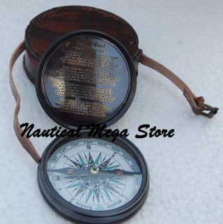 Antique 1885 Pocket Vintage Style Maritime Poem Engraved Brass Compass Wood Box photo