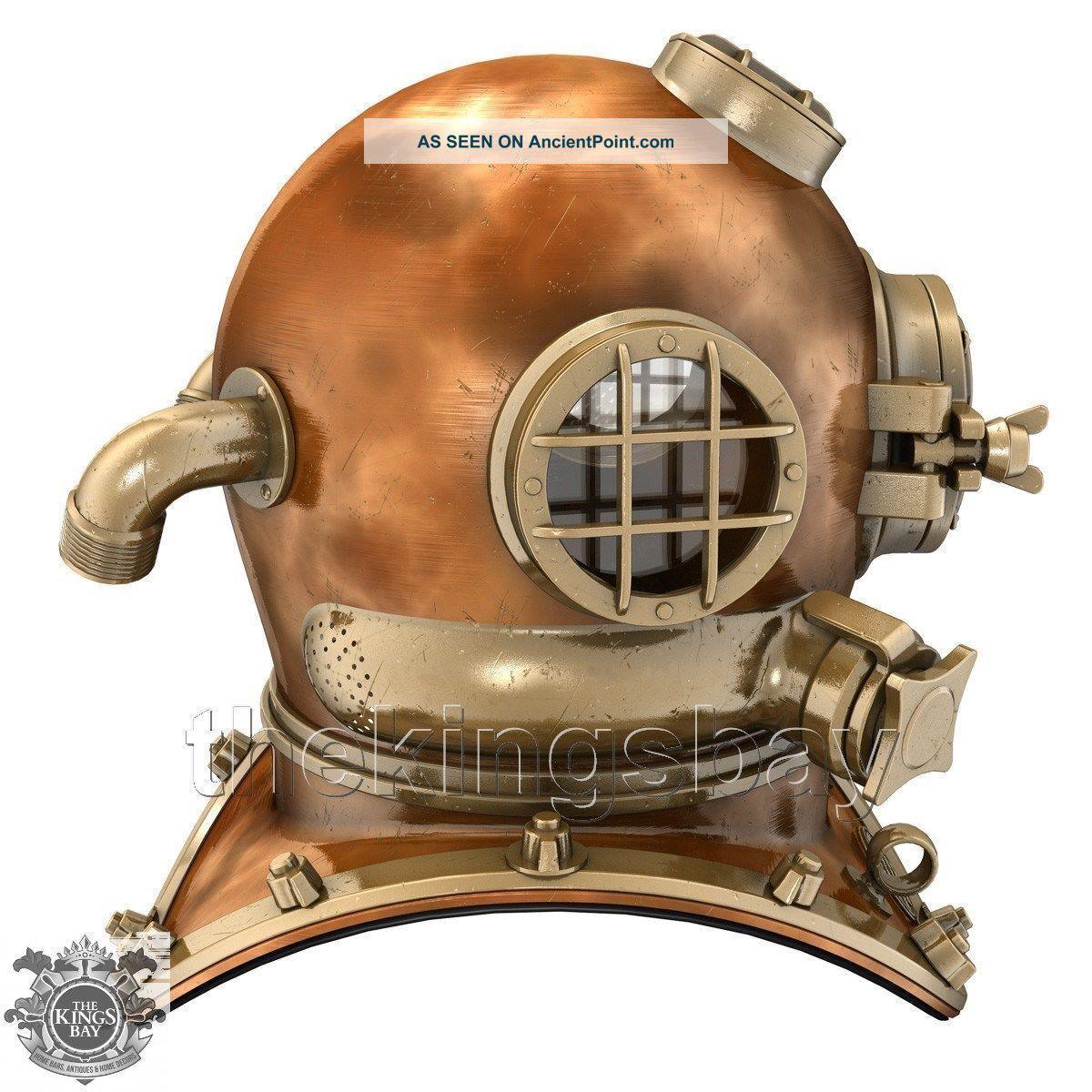 U.  S Navy Mark V Solid Copper Brass Diving Divers Helmet Heavy Model Diving Helmets photo