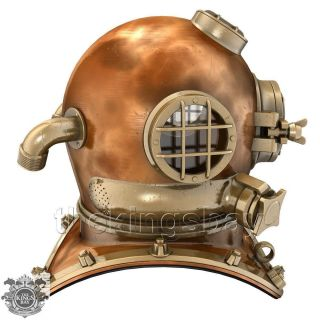 U.  S Navy Mark V Solid Copper Brass Diving Divers Helmet Heavy Model photo