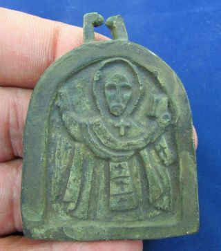 Rare Byzantine Votive Icon Depicting Saint 13 - 14th Century Ad (1860 -) photo