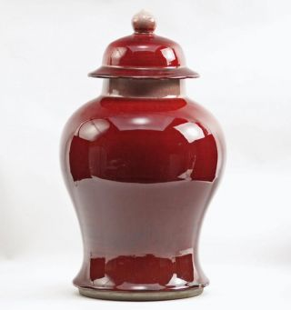 Antique Chinese Oxblood Large Sang De Boeuf Flambe Mei Ping Covered Jar photo
