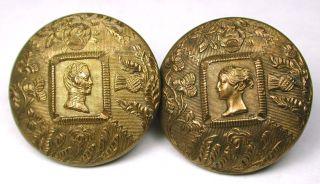 Antique Brass Button Pair Queen Victoria & Prince Albert Unusual Back Mark 7/8
