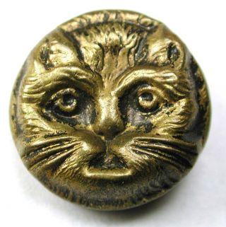 Antique Brass Button Cat Face 5/8