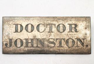 Antique Victorian 19c Doctor Johnston Silvered Brass Address Door Plaque photo