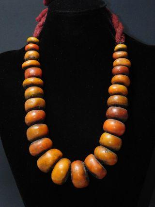 Vintage Berber Trade Beads Resin Sahrawi Tribal Jewelry Necklace,  Morocco photo