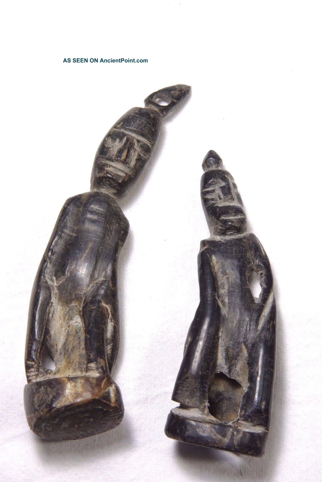 2 Finely Carved Charm Pair Made From Buffalo Horn - West Timor,  Atoni Pacific Islands & Oceania photo