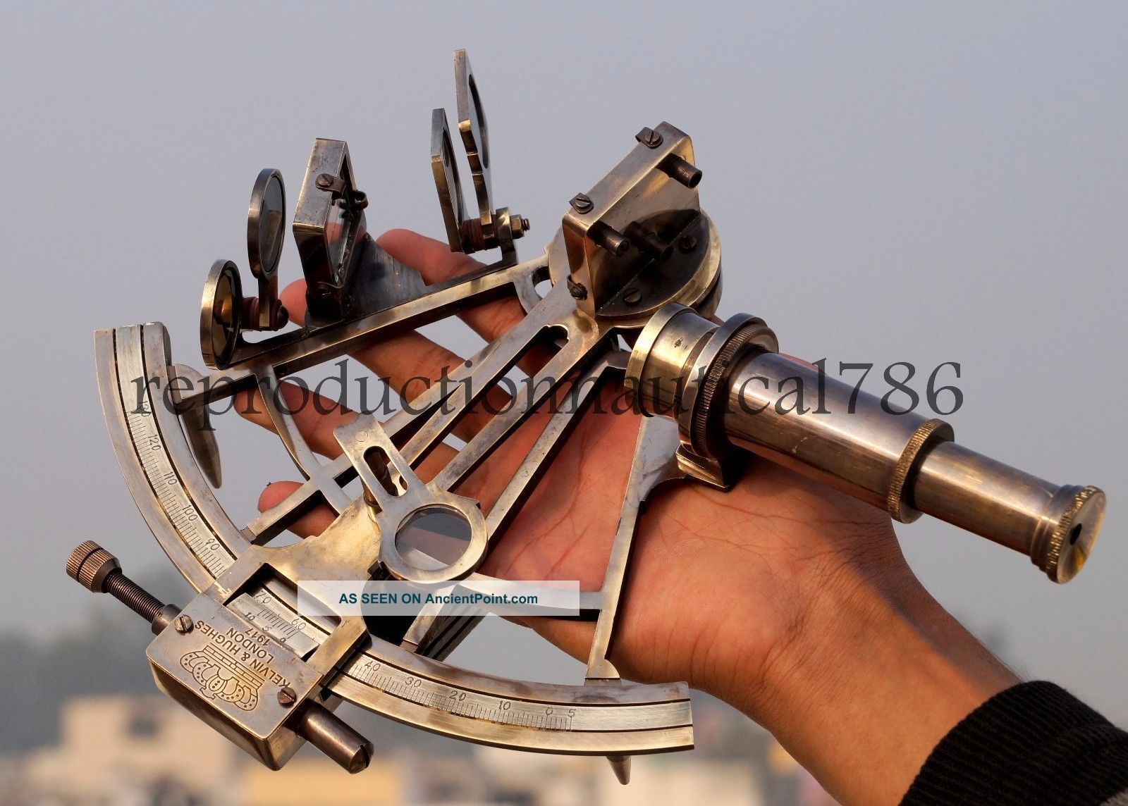Nautical Brass Antique Sextant Maritime Collectible Marine Ship Instrument Gift Sextants photo
