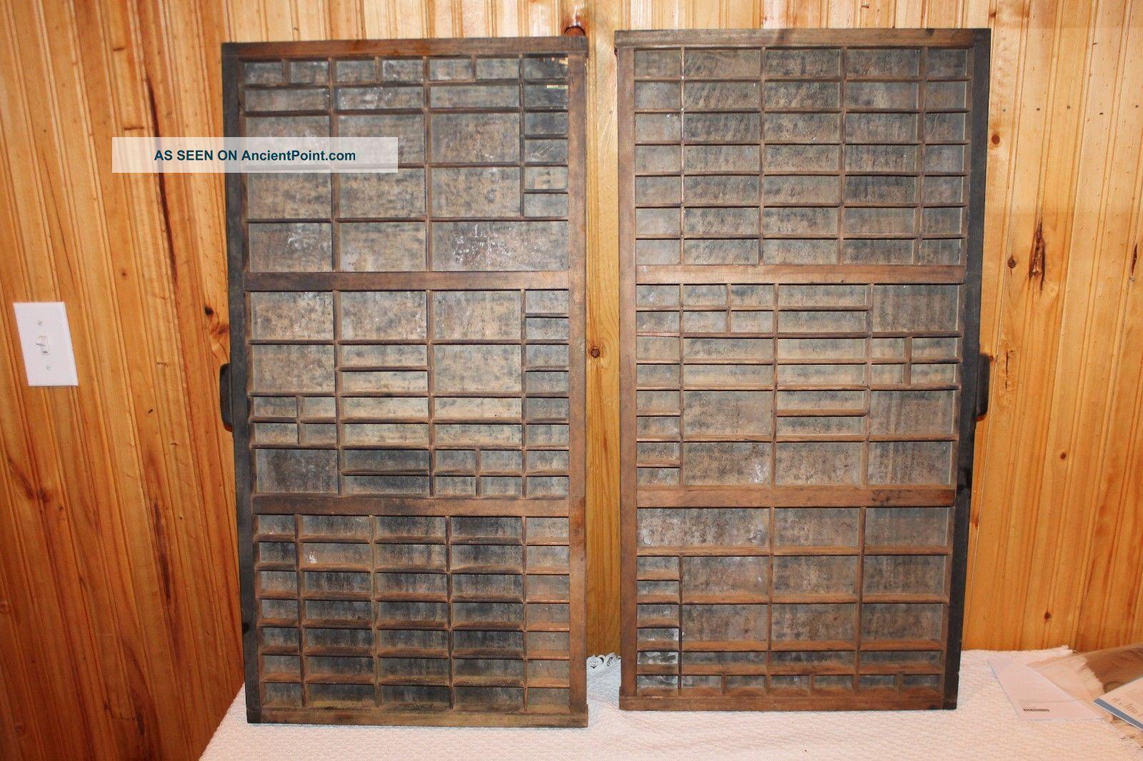 2 Vintage Hamilton Printers Tray Drawer Letterpress Wall Shelf