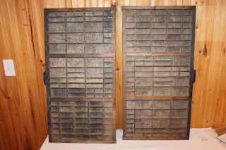 2 Vintage Hamilton Printers Tray Drawer Letterpress Wall Shelf Shadow Box photo