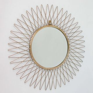 Vintage Mid Century French Sunburst Brass Wall Mirror 1950s photo