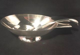 Christofle Gallia French Silver Plated Gravy Bowl & Serving Ladle - Swan Handle photo