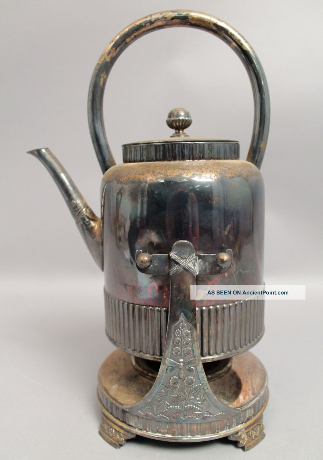 Antique 1880s Aesthetic Bee In Flowers Silver Sp Hot Water Pot On Stand W Burner Other Antique Silverplate photo