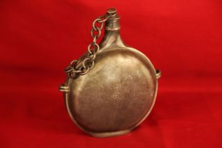 Antique Circa 1700's Pewter Military Canteen Or Flask With Coat Of Arms photo