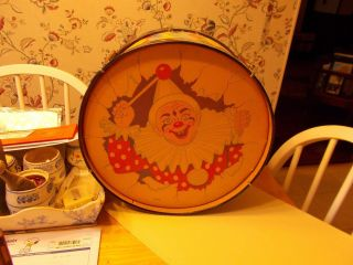Mid 1900s Child ' S Drum With Clown Design On The Frontmade In Usa By Olmar Cute photo
