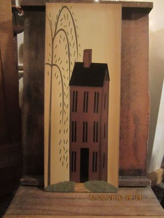 Primitive Folk Art Salt Box & Willow Tree Painting Picture photo
