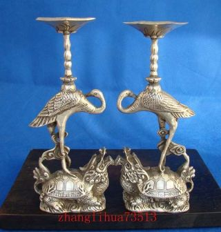 A Pair Antique Collectible Handmade Statue Candlestick Silver Turtle & Crane 9