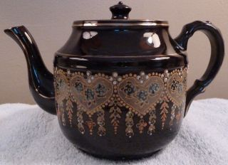 Vintage Sudlow ' S Burslem Dark Brown Teapot,  Enamel Beads,  Gold Filigree - Sh photo